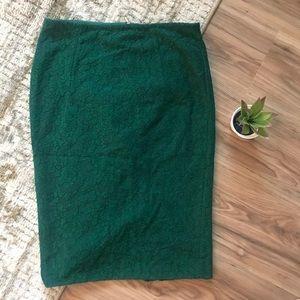 Zara Basic green lace pencil skirt Floral medium M